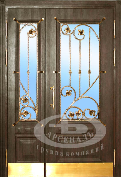 входные двери с элементами ковки двухстворчатые